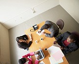 High angle view of businesspeople in a meeting