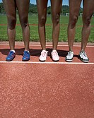 Portrait of female track athletes legs