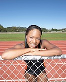 Portrait of female track athlete
