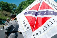 Flags from the US Civil War, the Confederacy, during Condederate Memorial Day Parade and such