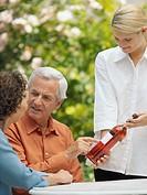 Man and woman choosing wine