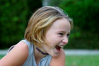 Close-up of a girl laughing
