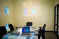 Laptop and projection equipment in a conference room