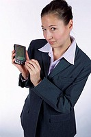 Portrait of a businesswoman holding a hand held device