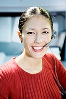 Portrait of a customer service representative wearing a headset