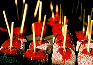 Candy apples for sale at a county fair in Rochester, New Hampshire, USA