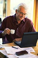 Senior man sitting in front of a laptop computer