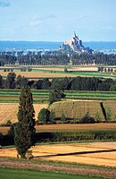 view from balcony bay and view of the polders. Mont St. Michel. Manche, Normandy, France