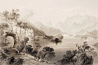 Upper Lake, Killarney, County Kerry, Ireland. Drawn by W.H.Bartlett, engraved by J. Cousen. From 'The Scenery and Antiquities of Ireland' by N.P.Willi...