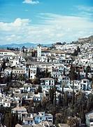 Spain, Granada, Alhambra, Albaicin cityscape