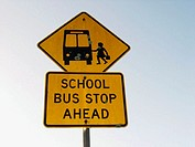 School bus stop ahead. Sign