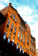 19th Century, Maroon Brownstones in New York  are captured in an extreme reflection of the Sun. Hence, the maroon color is vibrant, and the sky very b...