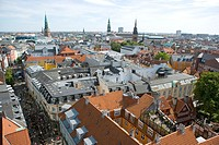Aerial view of city centre, Copenhagen, Denmark