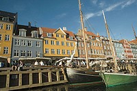 Typical architecture and boats at Nyhavn canal, Copenhagen, Denmark