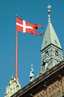 Danish pennant flying on Town Hall roof, Copenhagen, Denmark