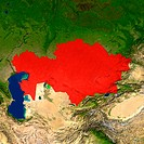 Highlighted satellite image of Kazakhstan