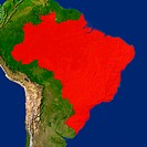 Highlighted satellite image of Brazil