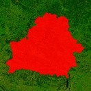 Highlighted satellite image of Belarus