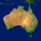 Highlighted satellite image of Australia
