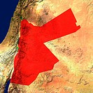 Highlighted satellite image of Jordan