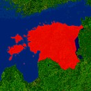 Highlighted satellite image of Estonia