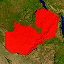 Highlighted satellite image of Zambia