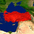 Highlighted satellite image of Turkey