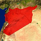 Highlighted satellite image of Syria
