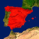 Highlighted satellite image of Spain
