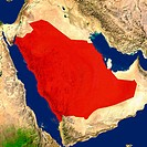 Highlighted satellite image of Saudi Arabia