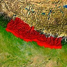 Highlighted satellite image of Nepal