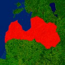 Highlighted satellite image of Latvia