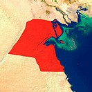 Highlighted satellite image of Kuwait