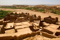 Aït-Benhaddou Ksar, unoccupied fortified town and UNESCO´s world heritage property, close to Ouarzazate 20 km - View from the grainloft and on the oth...