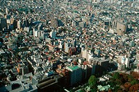 Aerial view of the residential district next to Shinjuku, Tokyo, Japan