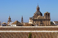 Carmona (from left to right): St. Bartholomew´s church (15th century), St. Peter´s church (15th century) and Baroque church of the Saviour (17th centu...
