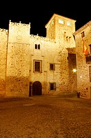 Night view of Palacio de los Golfines de Abajo (13th-14th century), Cáceres. Extremadura, Spain