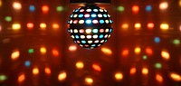 Ball of colored lights in the ballroom of a nightclub.