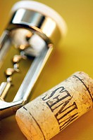 High angle view of a cork with a cork screw