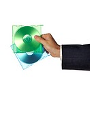 Close-up of a businessman holding two compact disks (thumbnail)