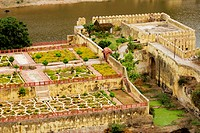 High angle view of a garden, Amber Fort, Jaipur, Rajasthan, India