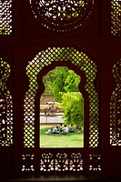 High angle view of a group of people sitting on the lawn, Government Central Museum, Jaipur, Rajasthan, India