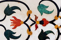 Close-up of marble inlay, Taj Mahal, Agra, Uttar Pradesh, India