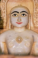 Marble statue of a religious figure in a temple, Jaisalmer, Rajasthan, India