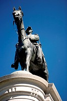 Low angle view of the statue of a man on a horse, Washington DC, USA