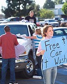 Church Youth Group Holding Car Wash
