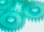 Close-up of Interlocking Plastic Gears