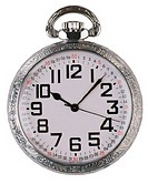 Front view of silver pocket watch
