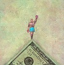 Champion Atop 100 Dollar Bill