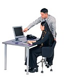 Business colleagues at desk with computer